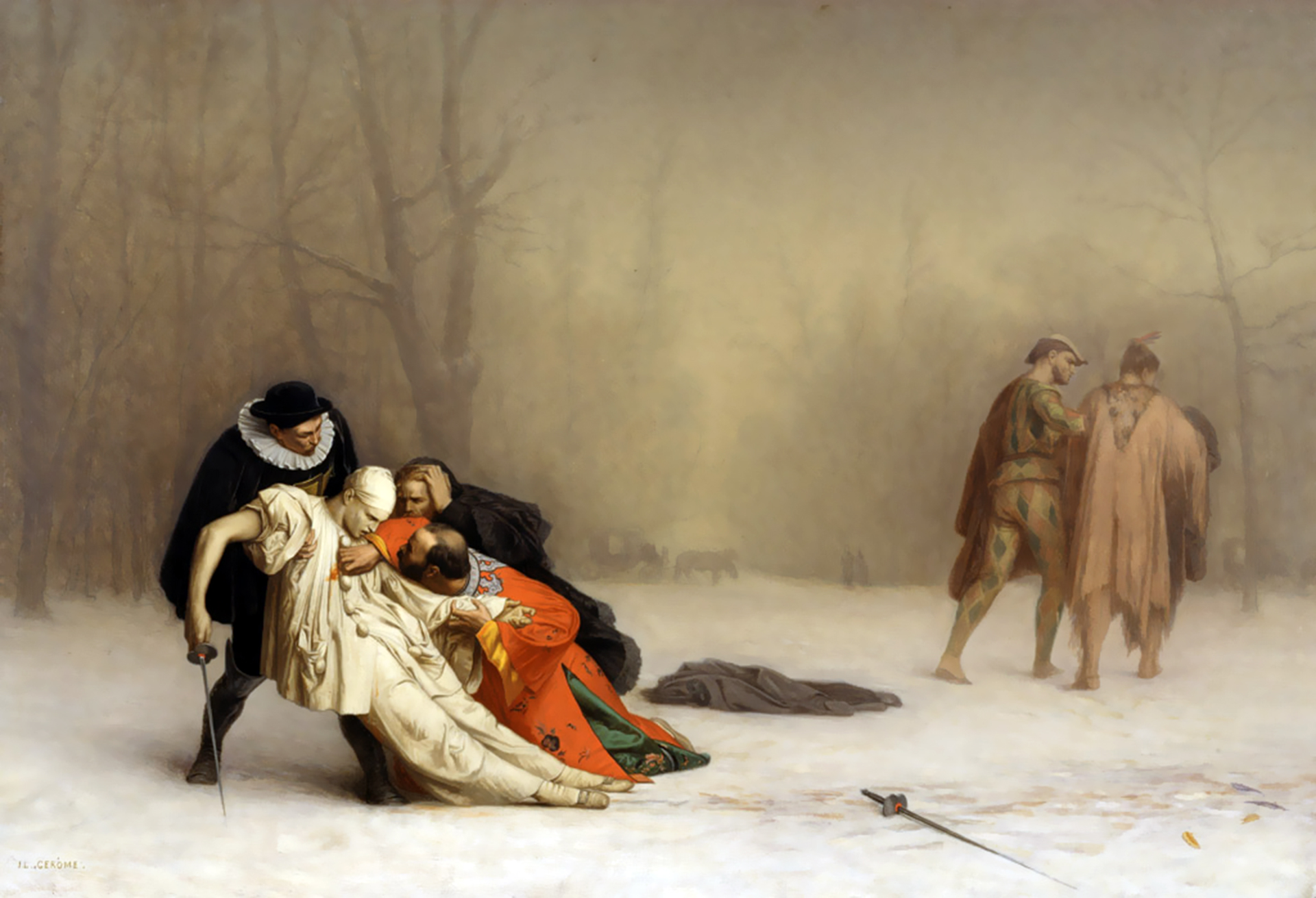 ジャン レオン ジェローム 仮面舞踏会後の決闘 壁紙 画像