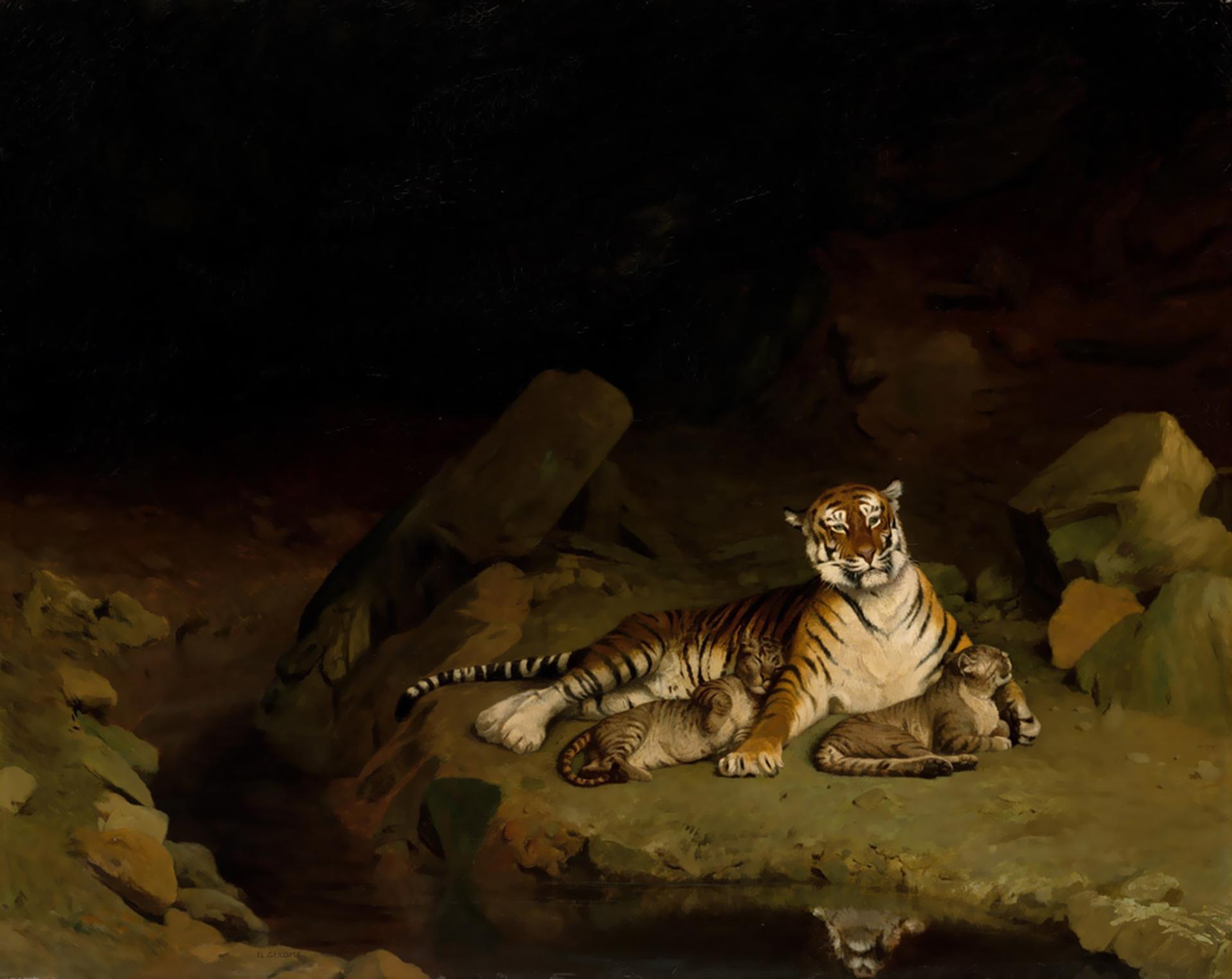 ジャン レオン ジェローム 虎の親子 壁紙 画像 エムズライファー